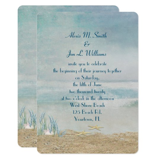 wedding starfish on beach card