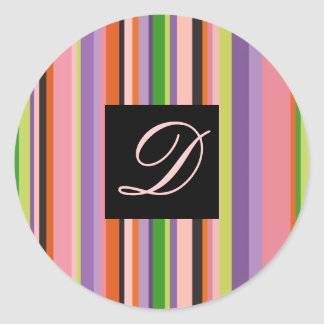 Wedding Sticker Bold Colorful Stripes Letter D