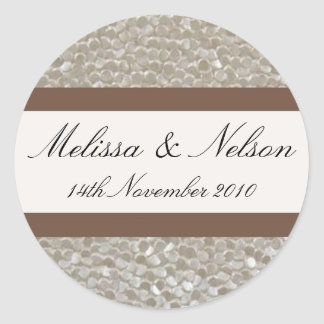 Wedding sticker bride groom name & date