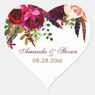 Wedding Sticker - Burgundy Floral, Feathers