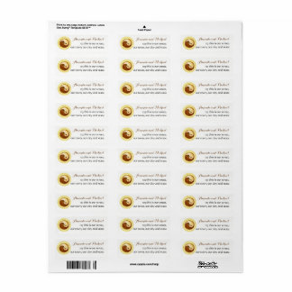 WEDDING STICKERS-LABELS. Gold YinYang doves.