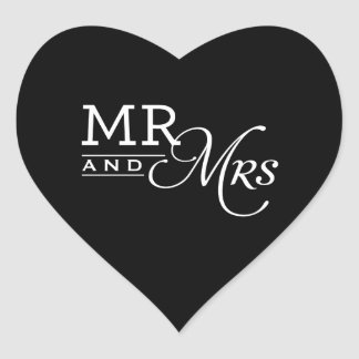 WEDDING STICKERS mr & mrs modern typography black