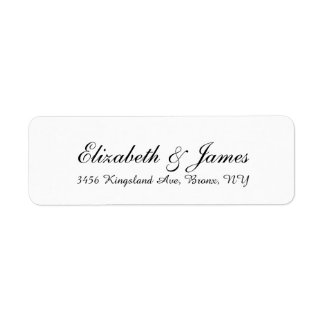 Wedding Stylish Handwriting Black White Elegant Return Address Label