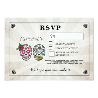 Wedding Sugar Skulls RSVP Mr Mrs Rustic Cards