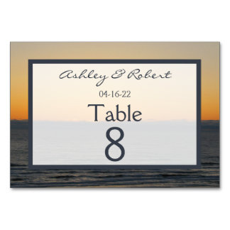 Wedding Sunset Table Numbers Cards