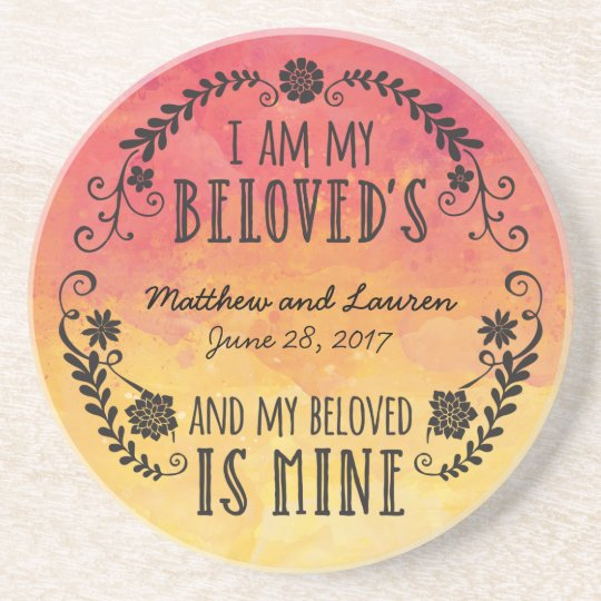 Wedding Sunset Watercolor, I Am My Beloved's Coaster