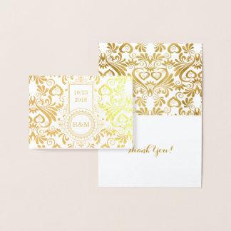 Wedding Swirls of Gold All Custom Text Foil Card