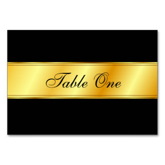 Wedding Table Card - Black with Gold Band