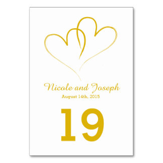 Wedding Table Card - Two Gold Hearts intertwined