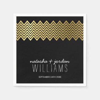 WEDDING TABLE DECOR chevron pattern gold black Disposable Napkins
