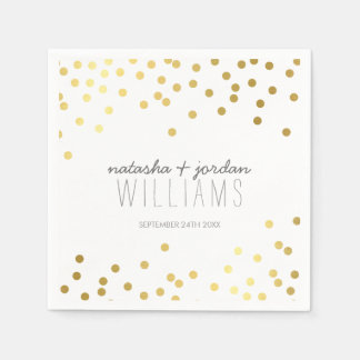 WEDDING TABLE DECOR cute confetti spots gold gray Paper Napkins