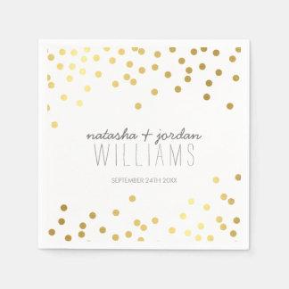 WEDDING TABLE DECOR cute confetti spots gold gray Paper Napkins