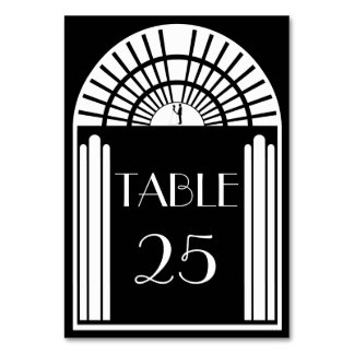Wedding Table Number Black & White Art Deco Style Table Card