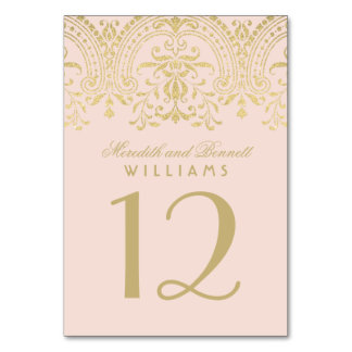 Wedding Table Number | Blush Gold Vintage Glamour
