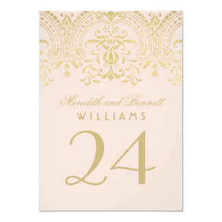 "Wedding Table Number | Blush Gold Vintage Glamour 5"" X 7"" Invitation Card"