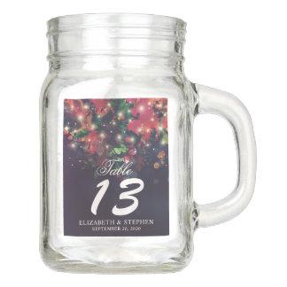 Wedding Table Number Burgundy Floral String Lights Mason Jar