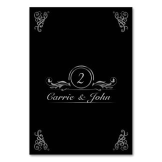Wedding Table Number Card | Elegant Silver Black Table Cards