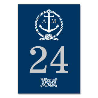 Wedding Table Number Card | Nautical Theme Table Card