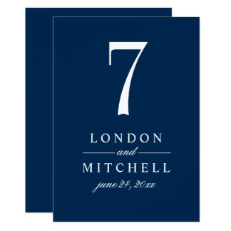 Wedding Table Number Card | Navy Classic Elegance