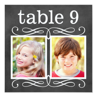 "Wedding Table Number Cards | Bride + Groom Photos 5.25"" Square Invitation Card"