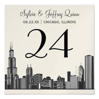 Wedding Table Number Cards | Chicago Skyline