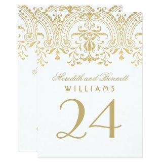 """Wedding Table Number Cards   Gold Vintage Glamour 4.5"""" X 6.25"""" Invitation Card"""