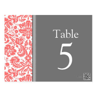 Wedding Table Number Cards Grey Coral Postcard