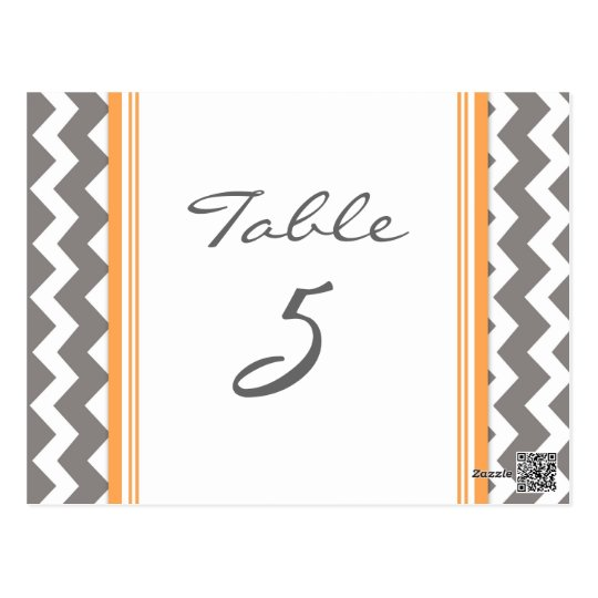 Wedding Table Number Cards Grey Orange Chevron