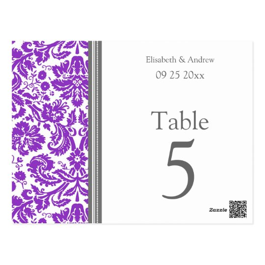 Wedding Table Number Cards Grey Purple