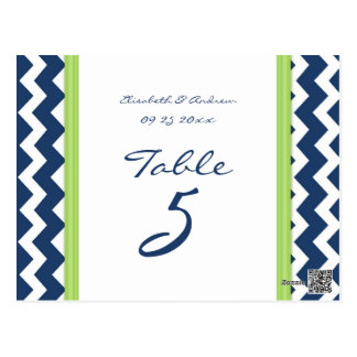 Wedding Table Number Cards Lime Blue Chevron