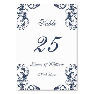 Wedding Table Number Cards | Navy Damask Design