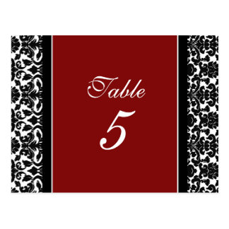Wedding Table Number Cards Red Damask Post Cards