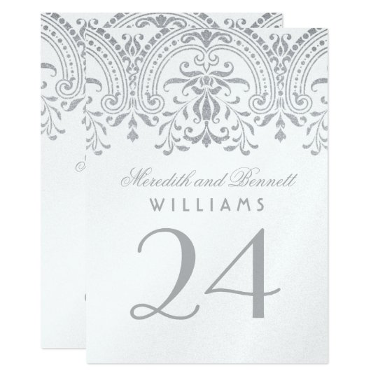 Wedding Table Number Cards | Silve Vintage Glamour
