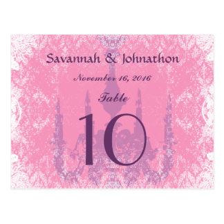 Wedding Table Number Cards Vintage Chandelier Pink