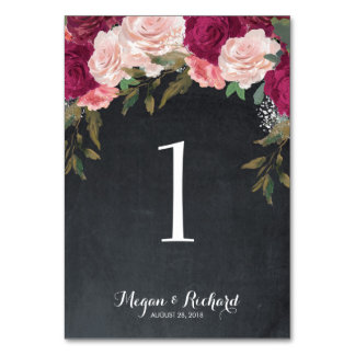 wedding table number chalkboard burgundy pink