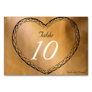Wedding Table Number Copper Hearts Wedding