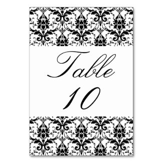 Wedding Table Number Elegant Black White Damask