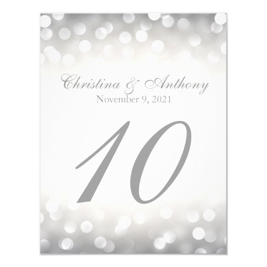 Wedding Table Number Elegant Silver Glitter Lights Card