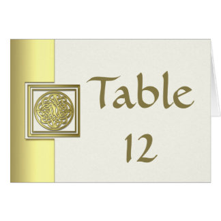 Wedding Table Number Gold Effect Celtic Knot Card