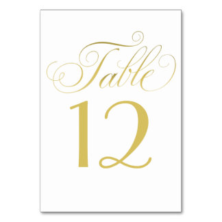 Wedding Table Number | Gold Script Card