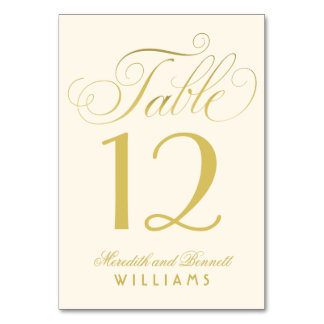 Wedding Table Number | Gold Script Monogram Table Card