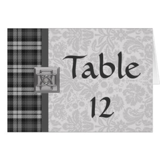 Wedding Table Number Grey Watch Tartan & Damask