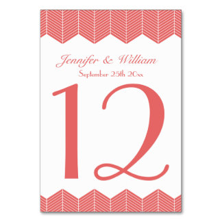 Wedding Table Number Herringbone Chevron Zig Zags