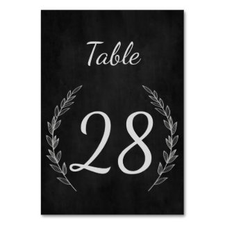 Wedding Table Number in Rustic Laurel Chalkboard