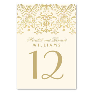 Wedding Table Number | Ivory Gold Vintage Glamour Table Cards