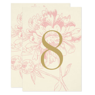 "Wedding Table Number | Pink Floral Peony Design 3.5"" X 5"" Invitation Card"