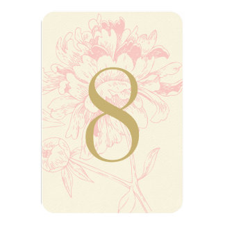 Wedding Table Number   Pink Floral Peony Design 3.5x5 Paper Invitation Card
