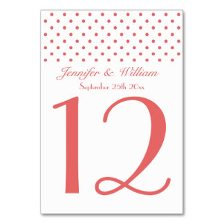 Wedding Table Number Pretty Red Polka Dots