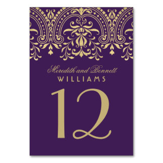Wedding Table Number | Purple Gold Vintage Glamour Table Card