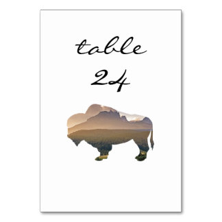 Wedding Table Number Rustic Western Bison